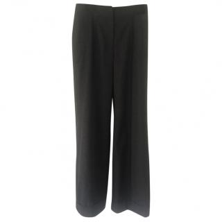 Chanel dark grey wool wide leg trousers