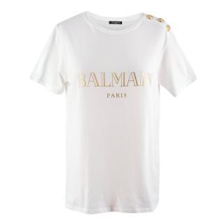 Balmain White & Gold Logo Print T-Shirt