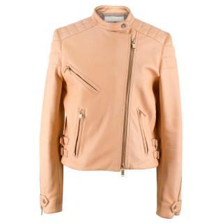 Chloe Nude Leather Biker Jacket