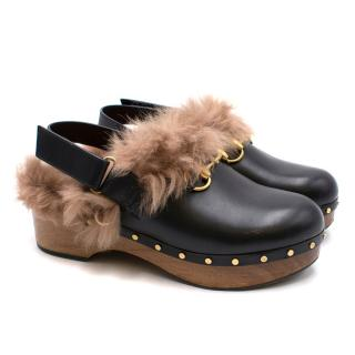 Gucci Leather Fur Lined Clogs