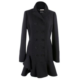 Alexander McQueen Black Double Breasted Peplum Coat