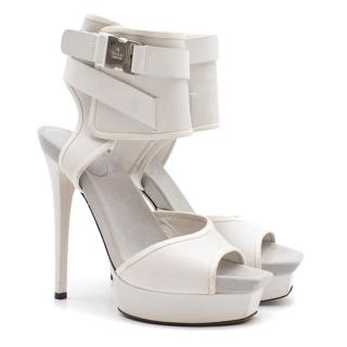 Gucci White Ankle Cuff Platform Sandals