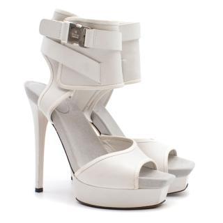 Gucci White Ankle Cuff Platform Sandals