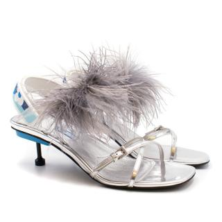 Prada Strappy Feather Slingback Sandals