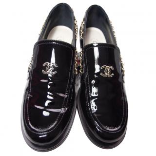 Chanel Patent Leather Chain Trim Black Loafers