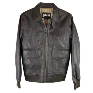 Schott NYC Dark Brown Leather Bomber Jacket