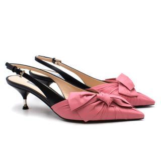 Prada Pink Bow Kitten Heel Slingback Sandals