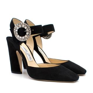 Jimmy Choo Matilda 100 Black Suede Crystal Buckle Pumps - Current