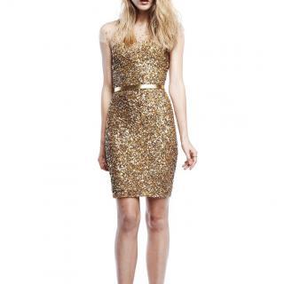 Reem Acra gold embroidered mini dress