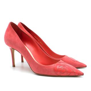 Dior Pink Suede Patent Rose Pumps