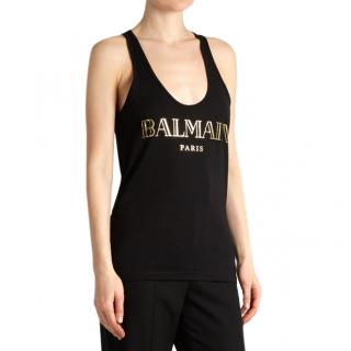 Balmain Black & Gold Logo Tank Top