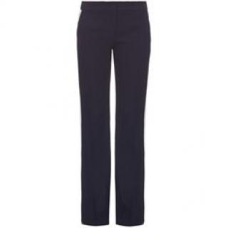 Alexander McQueen navy bootcut side stripe trousers