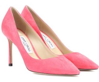 Jimmy Choo romy 85 flamingo pink suede pumps