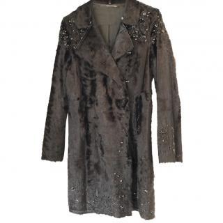 Maurizio Pecoraro Black Bead Embellished Fur Coat