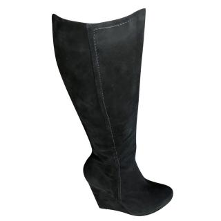 Pollini Knee high Suede wedge boots
