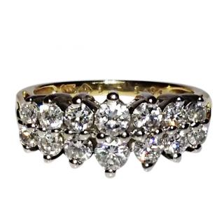 Bespoke 14ct Gold Two Row Diamond Cluster Ring