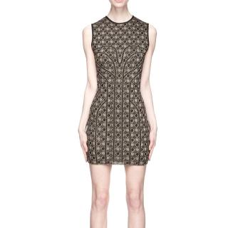 Alexander McQueen Gold Honeycomb Jacquard Knit Dress