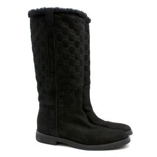 Gucci Black Suede and Shearling Boots