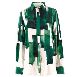 Celine Abstract Print Silk Shirt