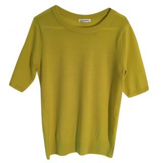 Club Monaco merino wool chartreuse short sleeve sweater.