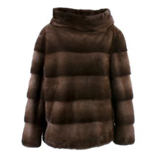Lilly e Violetta Bespoke Mink Fur High Neck Pullover Jacket