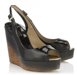 Jimmy Choo Black Patent Leather Wedges
