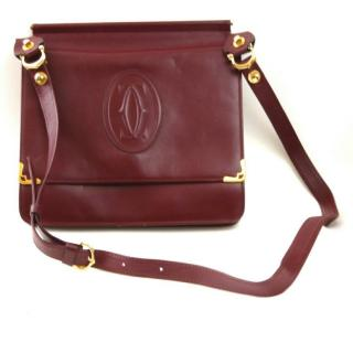 Cartier Must de Cartier  Burgundy Calfskin Shoulder Saddle Bag