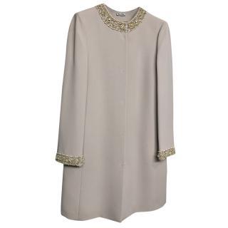 Miu Miu Embellished Beige Coat
