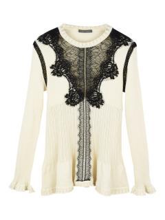 Alberta Ferretti sheer lace detailed wool jumper