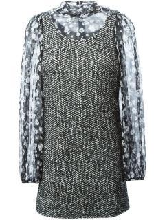 Dolce & Gabbana Blouse Insert Tweed Dress