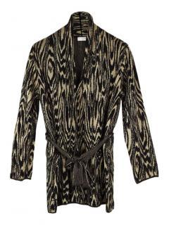Dries Van Noten abstract style merino wool blend cardigan