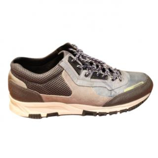 Lanvin men's blue and grey running trainers