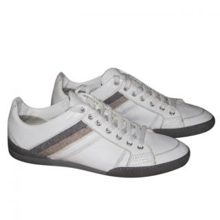 Dior men's grey and white leather trainers