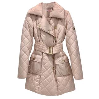 Blumarine Dusky Rose Pink Down Quilted Coat