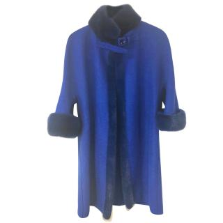 Ermano Scervino Blue mink trimmed Coat