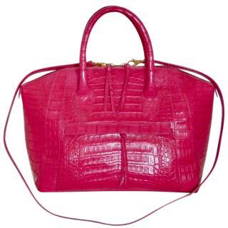 Nancy Gonzalez pink crocodile dome bowling tassel satchel bag