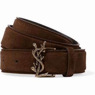 Saint Laurent brown suede belt
