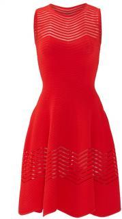 Antonino Valenti Red Sheer Zag Dress