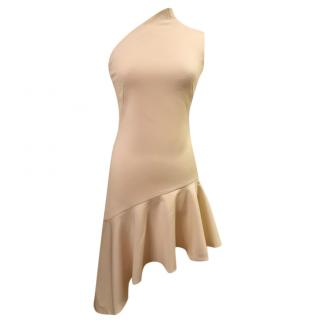 Osman cream one shoulder asymmetric dress
