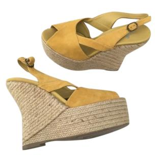 Castaner Yellow Suede Wedge Sandals
