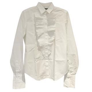 Ralph Lauren White Ruffle Front Shirt