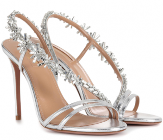 Aquazzura Chateau 105 Silver Sandals