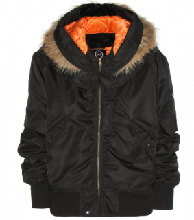 MCQ Fur Trimmed Satin Twill Bomber Jacket