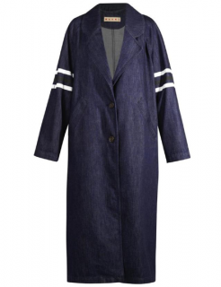 Marni Stripe Sleeve Oversize Denim Coat