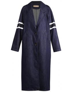 Marni Stripe Sleeve Oversize Denim Coat