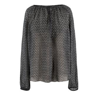 Isabel Marant Sheer Printed Silk Blouse