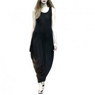 Yohji Yamamoto Black Silk Georgette Draped Dress
