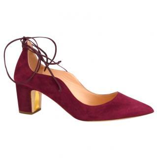 Rupert Sanderson Poet Suede Sangria Suede Shoes