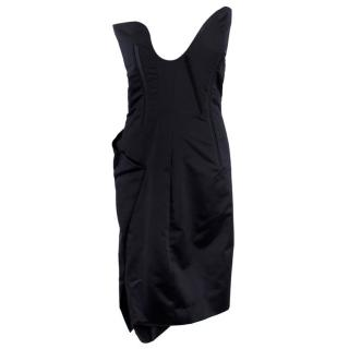 Celine Navy Strapless Silk Asymmetric Corset Dress