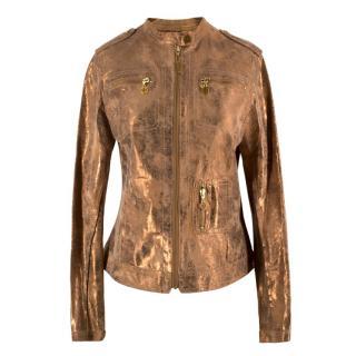 Tory Burch Metallic Copper Leather Jacket